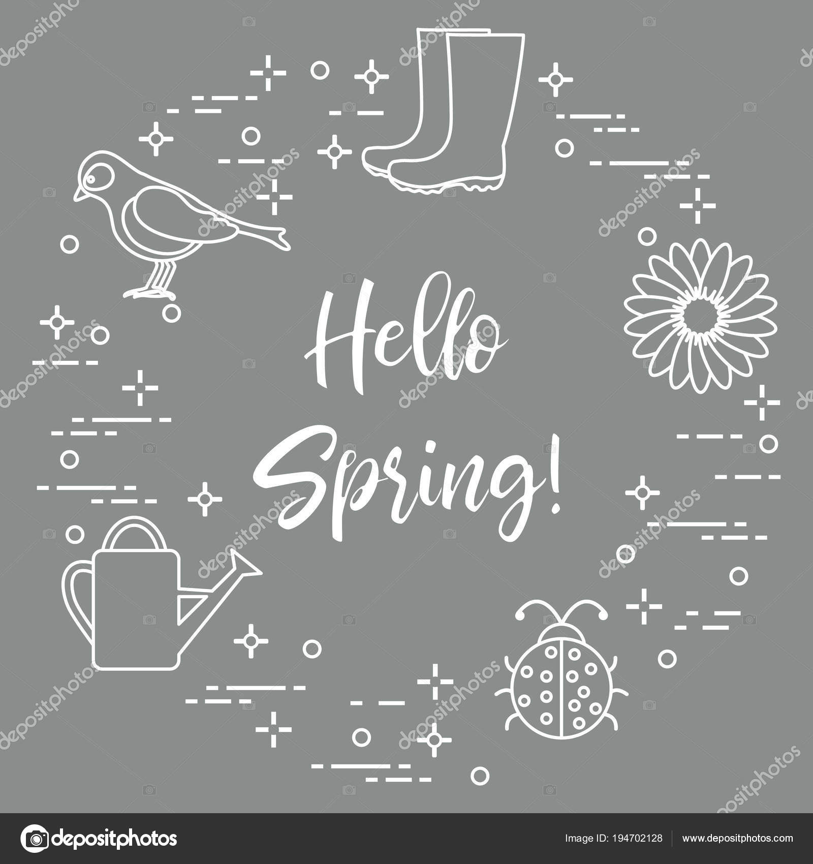Rubber boots, bird, flower, watering can, ladybug. — Stock Vector ...