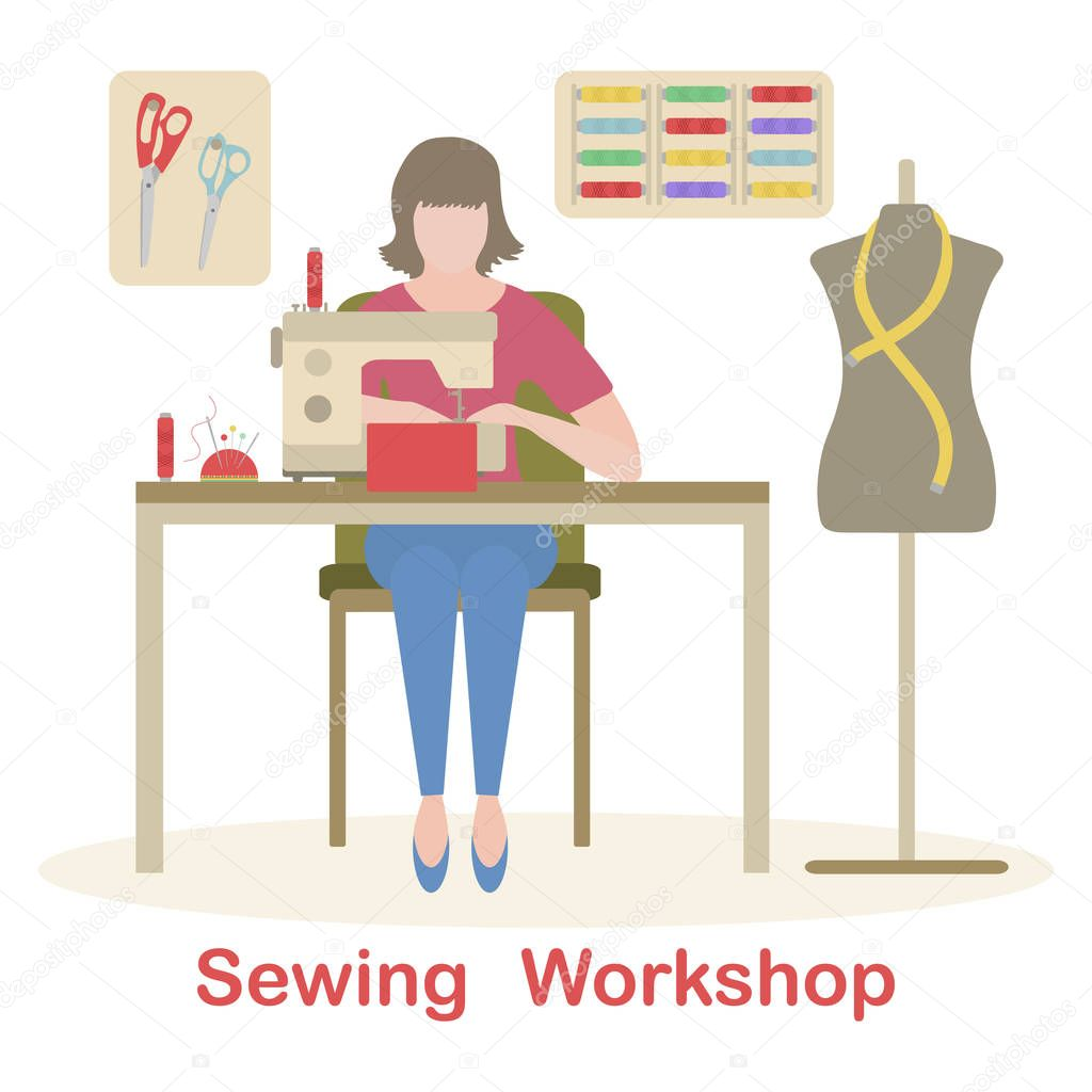 Vector Illustration On White Background Woman Seamstress Works On Sewing Machine Tailor Atelier Tailoring Sewing Workshop Equipment Fashion Designer Sew Dressmaking Tools Design For Print Website Premium Vector In Adobe Illustrator