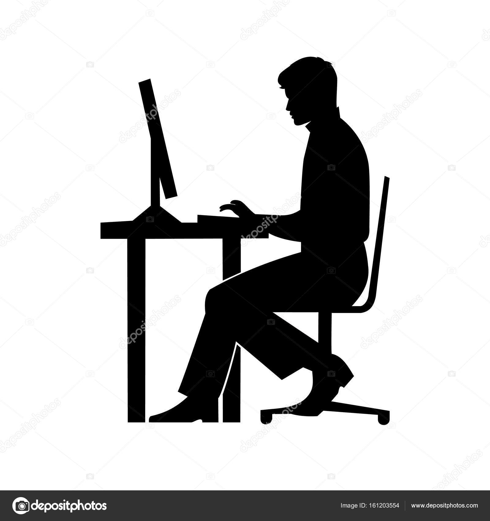 black silhouette of a man sitting behind a computer icon ...