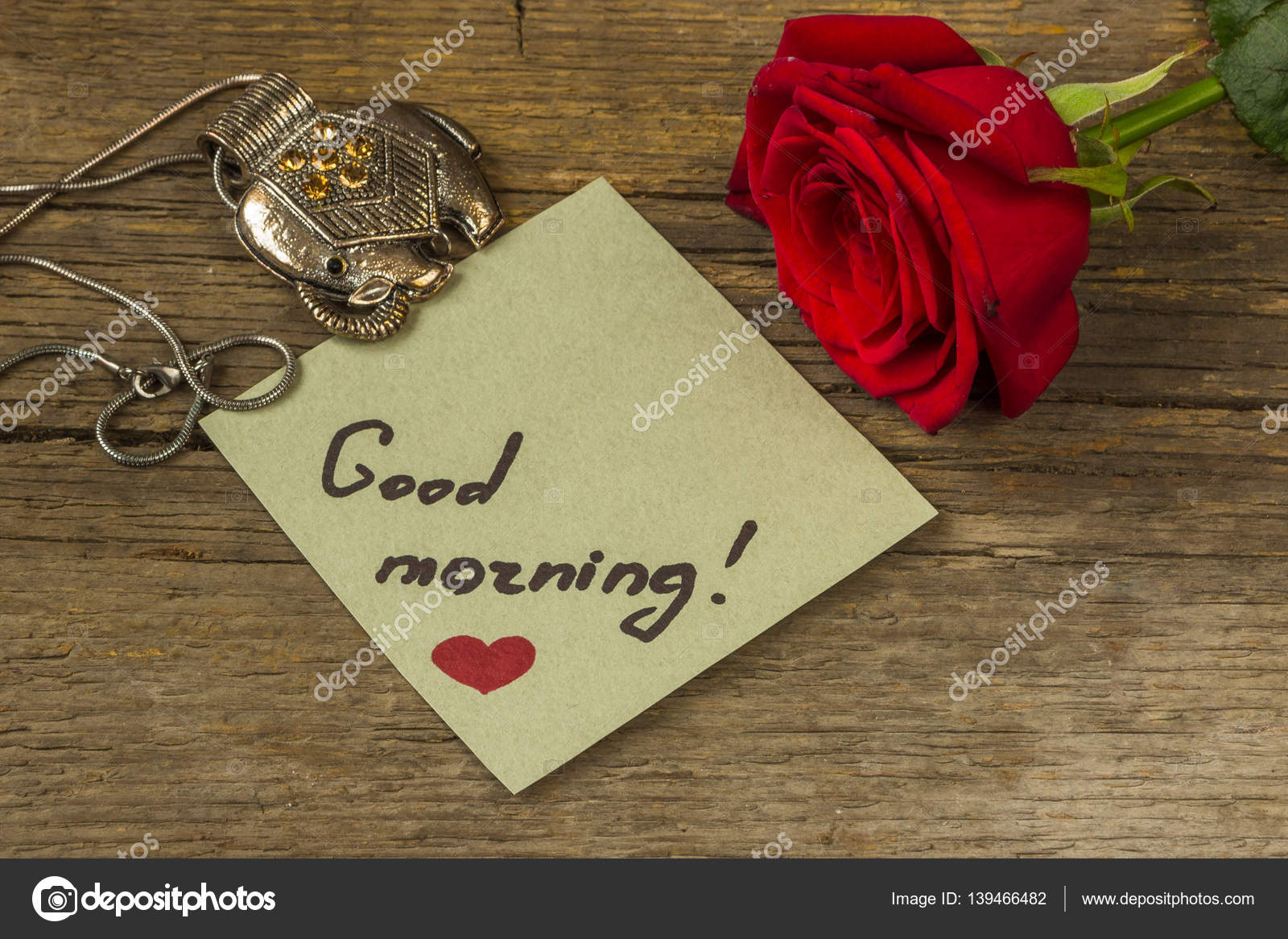 Good Morning Text On A Paper Red Rose Flower And Decoration