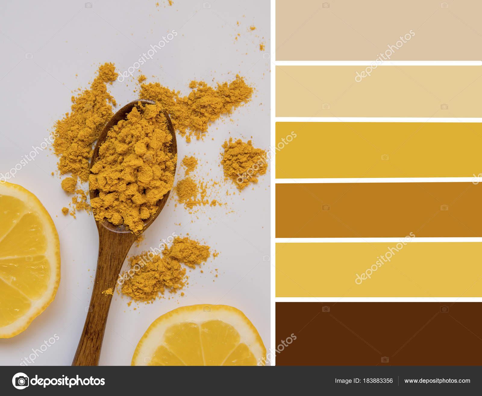 Palette De Couleurs Citron Et Curcuma Jaune Et Jéai Photographie