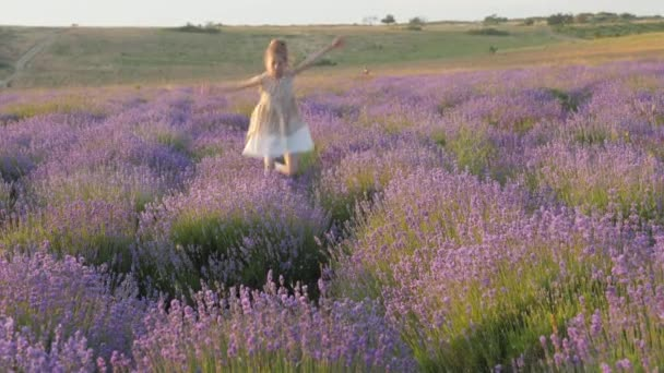 Gefühle Emotionen, kleines Mädchen Lächeln Glück fröhlich flieht Sprung ins Freie. erstaunliche Lavendelfeld. Dorfprovinz