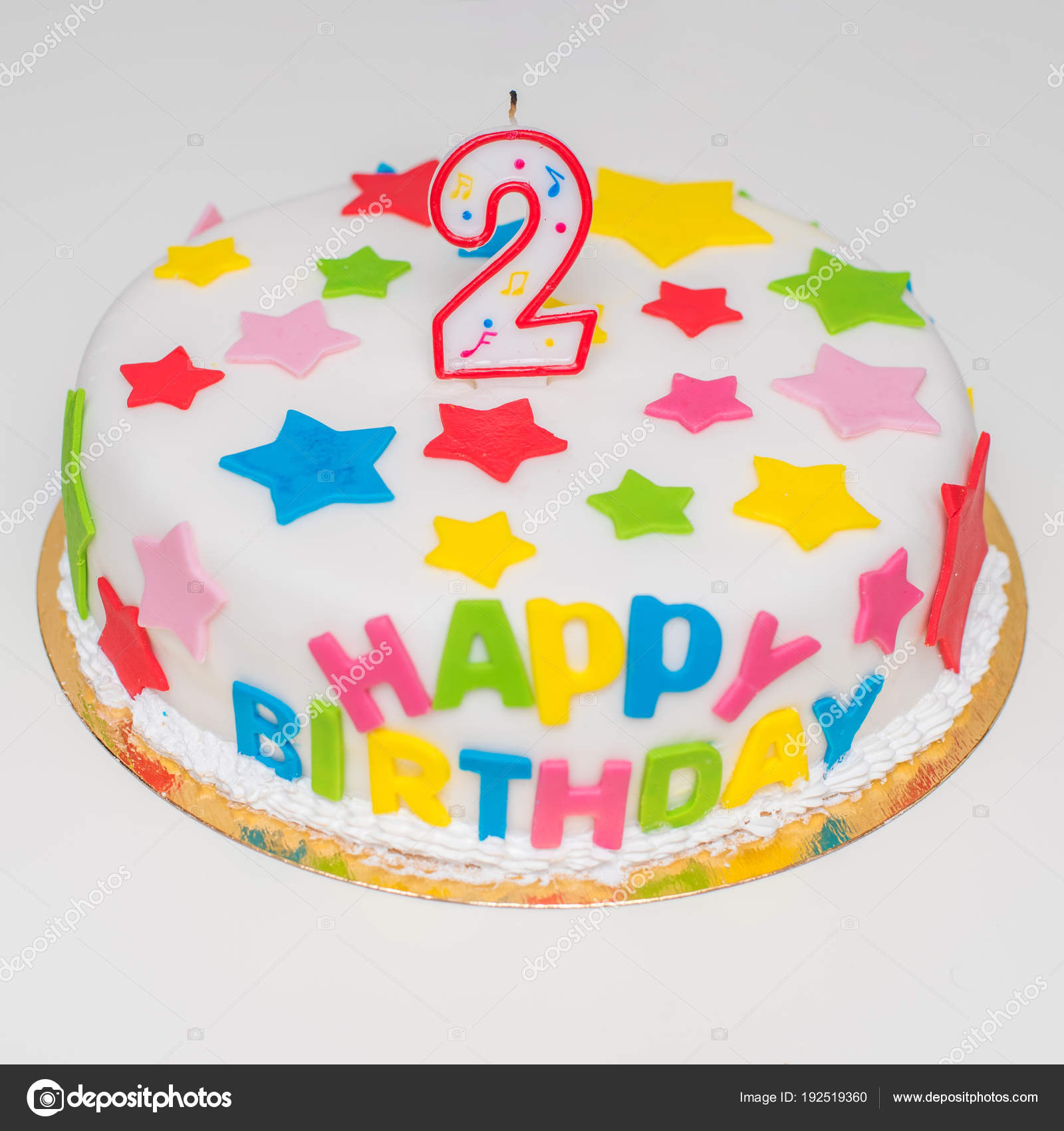 Big Beautiful Cake For A Happy Birthday With Candles In The Form Of Two Stock Image