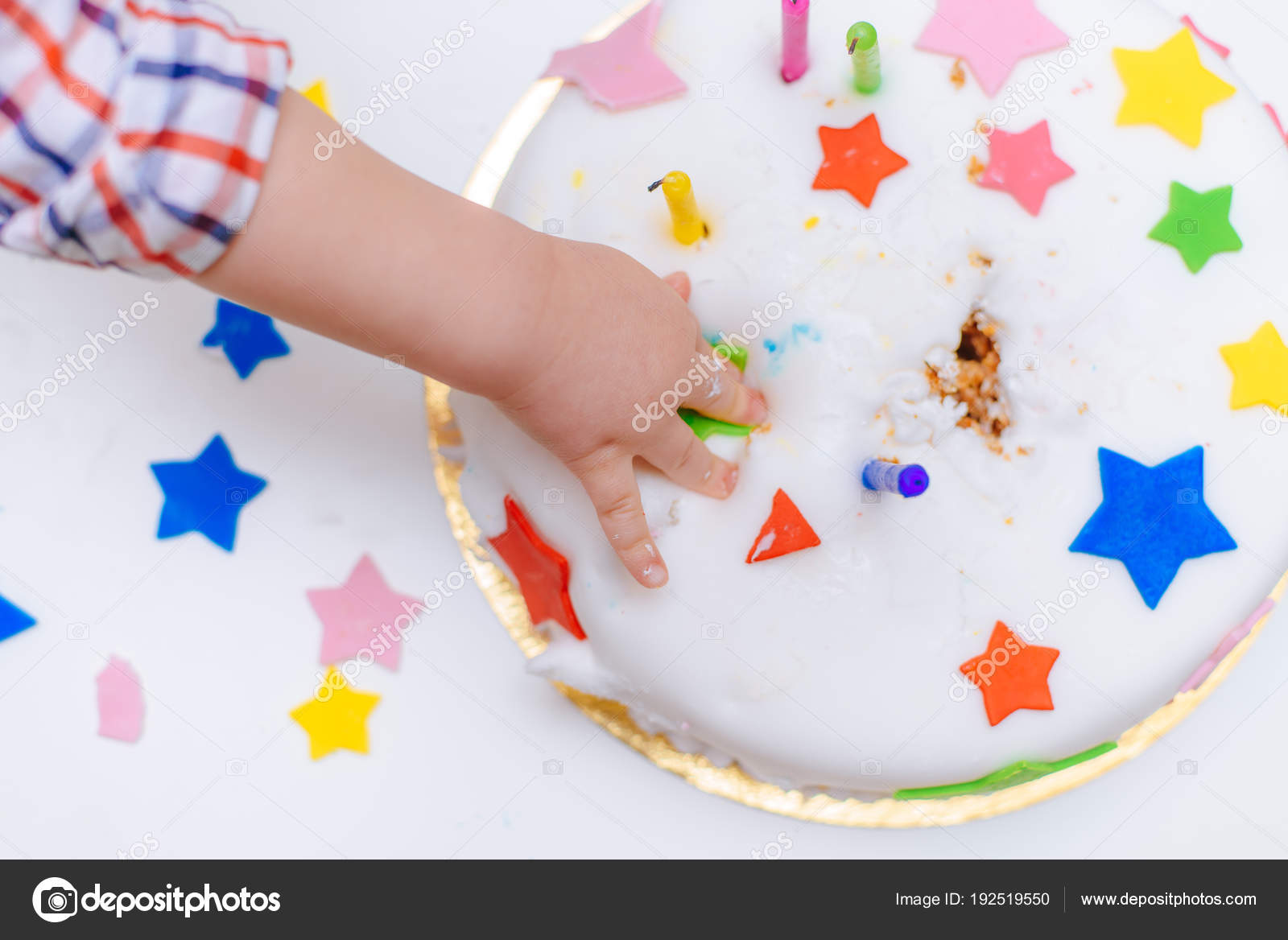 A Small Child Touches His Celebratory Cake That Lies On The Table Photo By Ahfotomailru