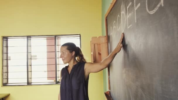 African teacher explaining english alphabet on chalkboard.