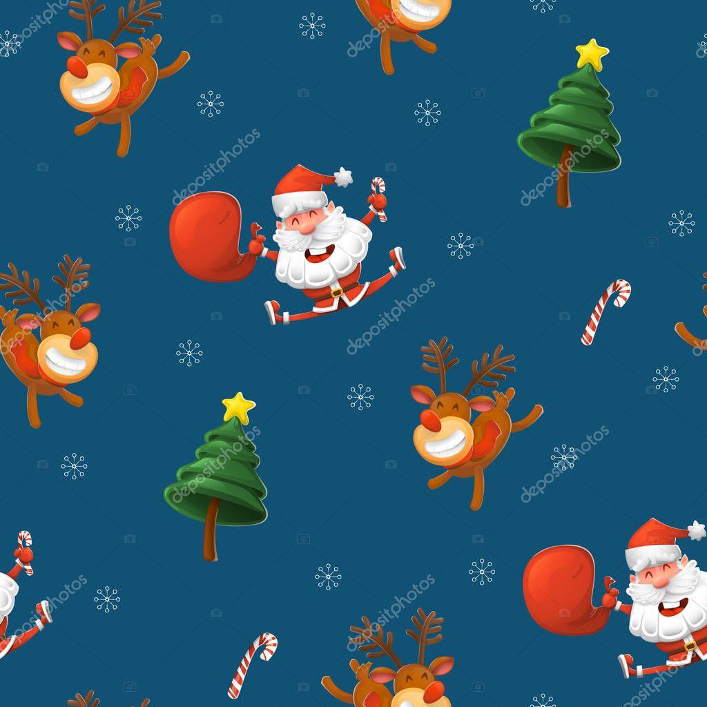 Sfondi Natalizi Renne.Elemento Di Disegno Di Vettore Di Natale Modello Allegro Babbo