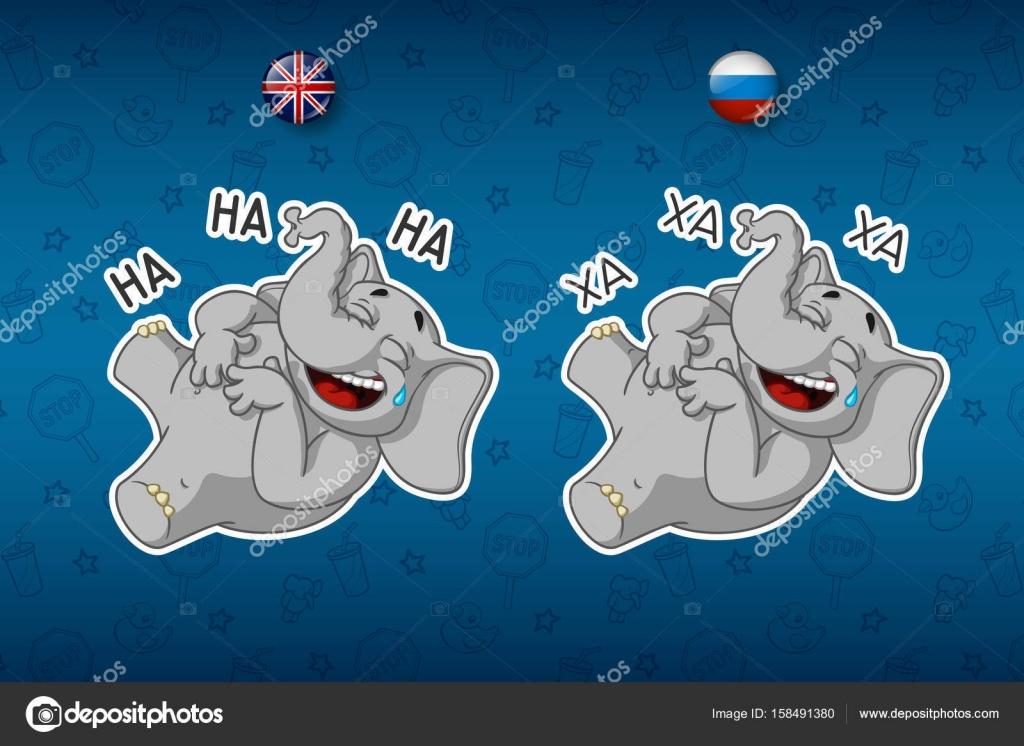 Elefanti di adesivi. ride che tiene il suo stomaco. grande set di