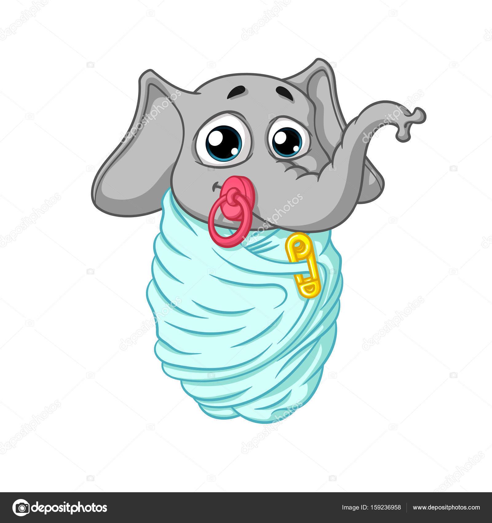 Elefante. carattere. il bambino è avvolto con un ciuccio in bocca