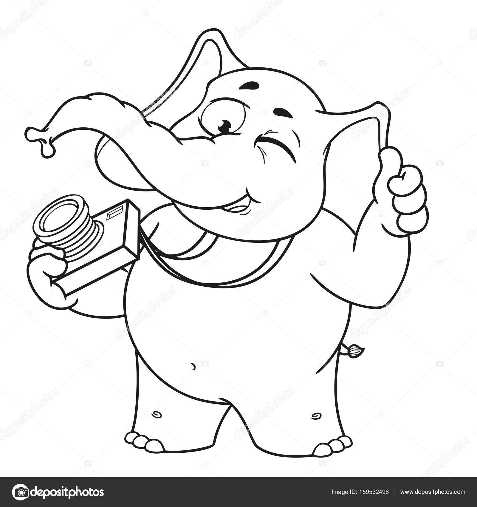 Animado Elefante Fotografo Personajes De Dibujos Animados De