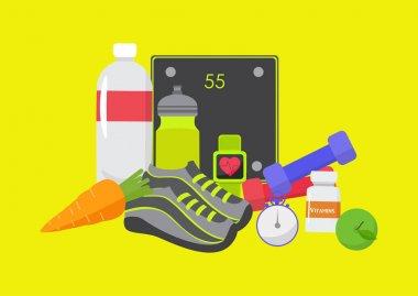 Healthy, sport, fitness, lifestyle design, vector illustration