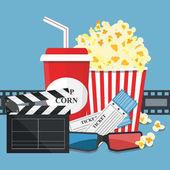 Illustrazione di vettore. Pop-corn e bevande. Bordo della striscia della pellicola. Cinema