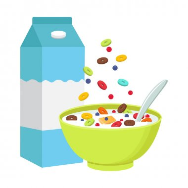 Cereal bowl with milk, smoothie isolated on white background.