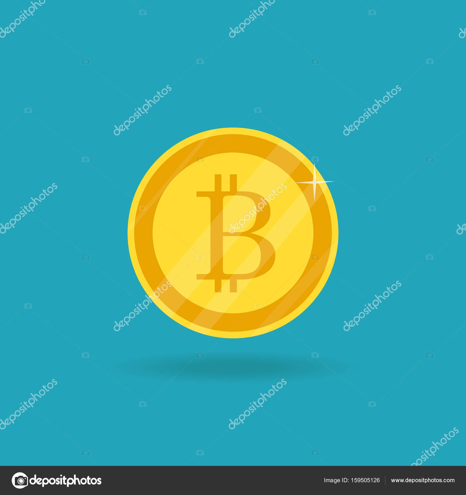 Cripto Currency Vector Golden Bitcoin Sign Icon Flat Network M