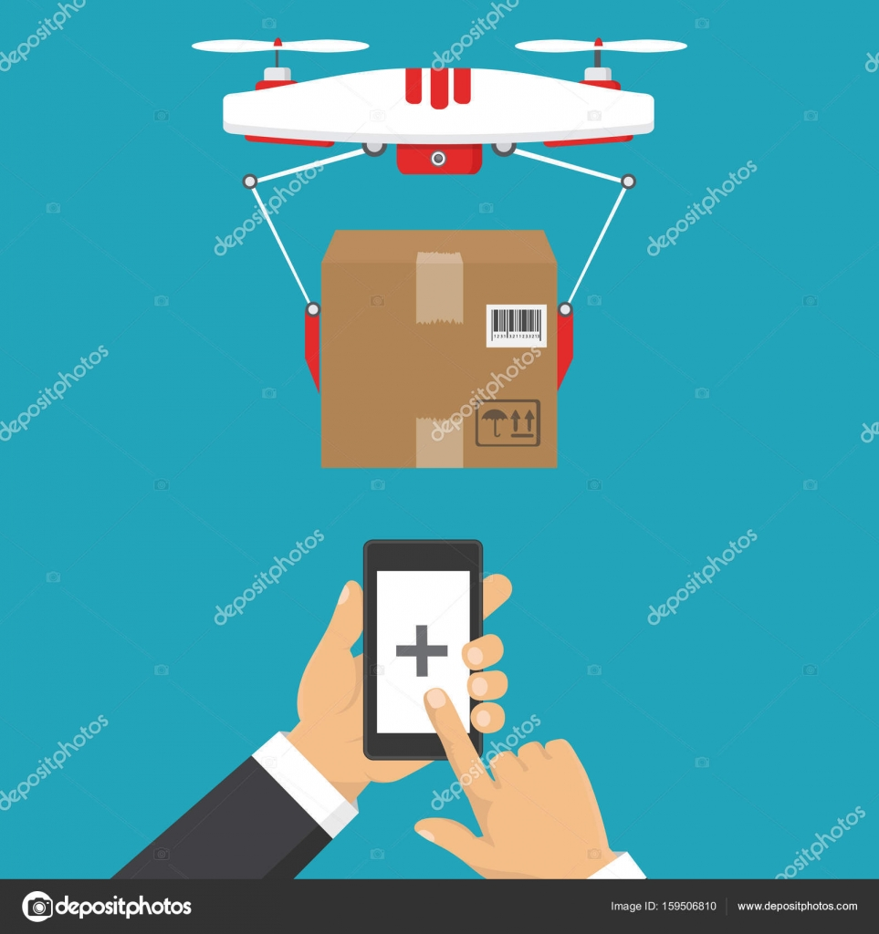 Dron delivers the parcel  The concept of fast, free delivery