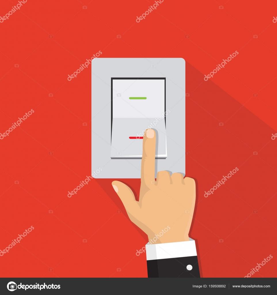 Isometrische Symbol. Hand auf den Lichtschalter drehen. Kippschalter ...
