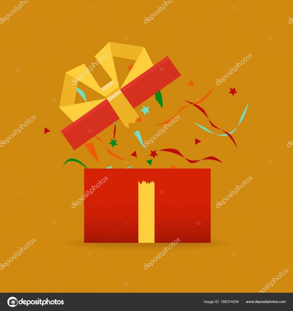 överraskning födelsedag Öppnade presentbox, överraskning, födelsedag, semester koncept  överraskning födelsedag
