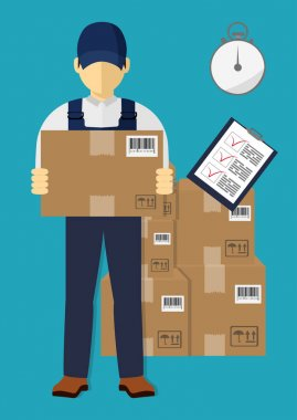 Isometric man, delivery concept. Man and parcel, isolated design