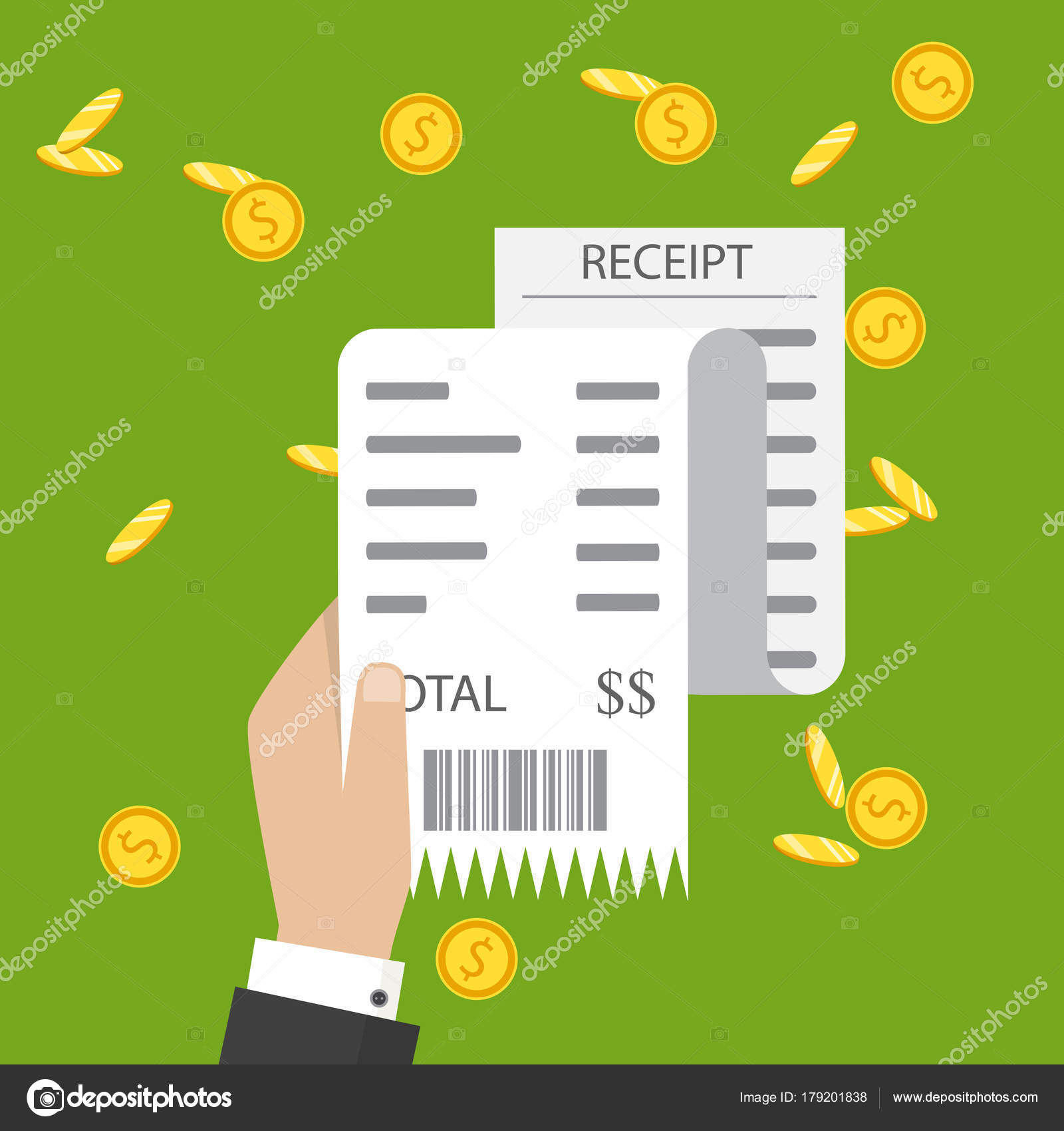 bill atm financial check paper receipts icon vector receipt