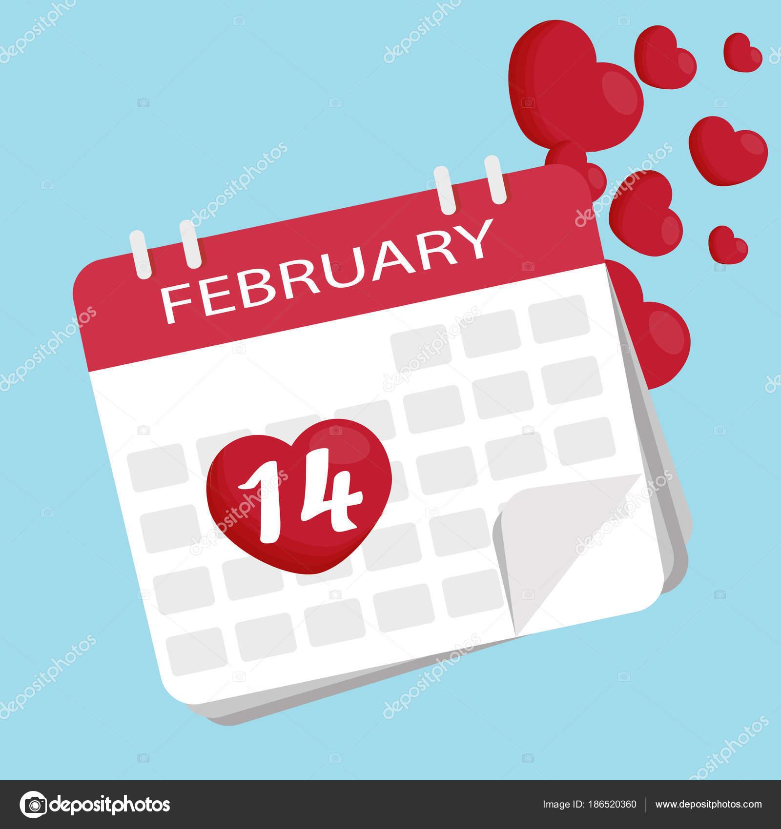 Vector 14 De Febrero Calendario Del Día De San Valentín Vector
