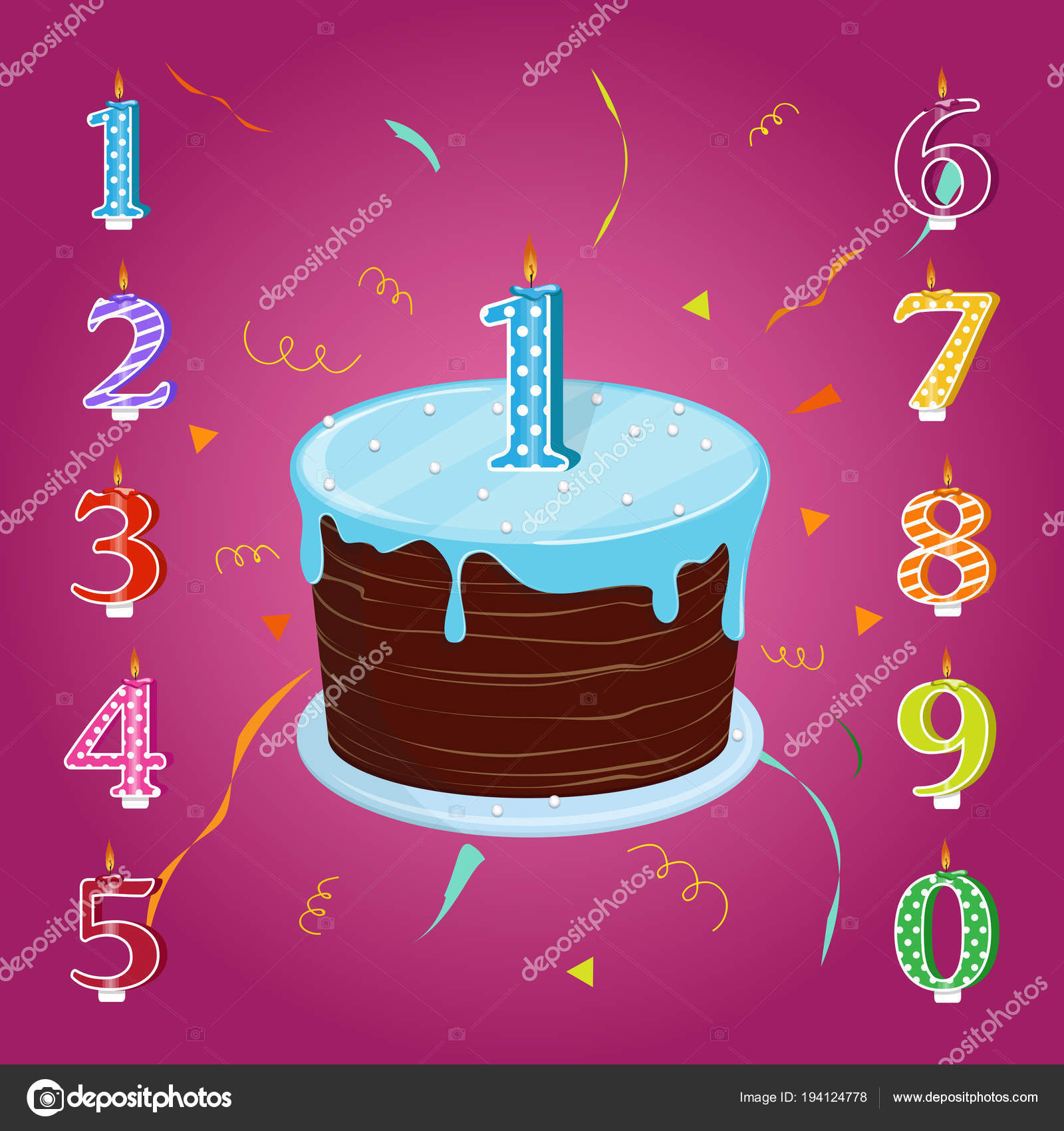 Happy Birthday Cake Candles Numbers Each Year Vector Illustration Set Stock