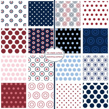 Polka dot seamless patterns. Red, white and blue polka dots - 16 repeating patterns for digital paper, scrapbooking, gift wrap, invitations, announcements, backgrounds, borders and more. Red, white, blue and navy. Classic, retro, vintage style. clip art vector