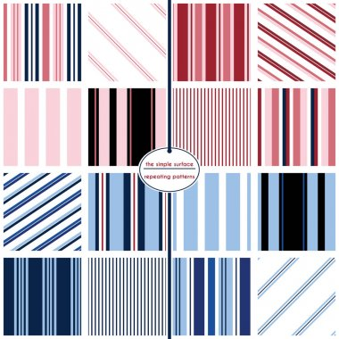 Stripe seamless patterns. Stripe patterns - 16 patterns for digital paper, scrapbooking, gift wrap, invitations, announcements, backgrounds, borders and more. Vertical and horizontal stripe pattern. Pinstripes. Red, white, blue, navy. Preppy, retro.