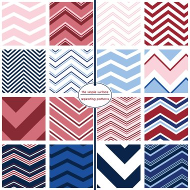 Chevron seamless patterns. 16 chevron patterns for digital paper, scrapbooking, gift wrap, invitations, announcements, backgrounds, borders and more. Red, white, blue, navy. Preppy, vintage, retro, classic style. clip art vector
