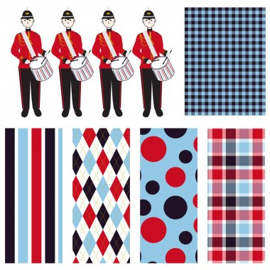 Red, white and blue seamless patterns. Vector illustrations. Drummer boys.