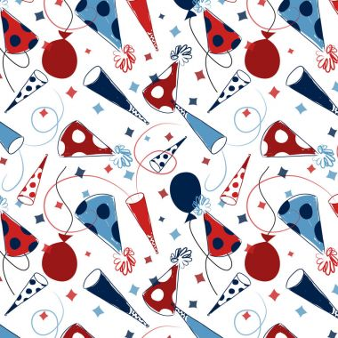Seamless party pattern with party hats, balloons, noise makers and confetti in red, white and blue. Repeating pattern for gift wrap, scrapbook paper, cards and more. Birthday party paper. Happy New Year pattern.