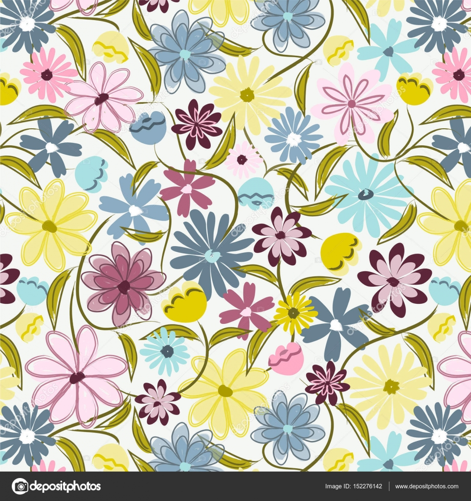 Seamless floral ditsy print. Flower repeating pattern for fabric,  backgrounds, scrapbook paper, gift wrap and more. Pink, blue, yellow and  purple. Feminine, modern, retro, vintage style. ⬇ Vector Image by ©  thesimplesurface |