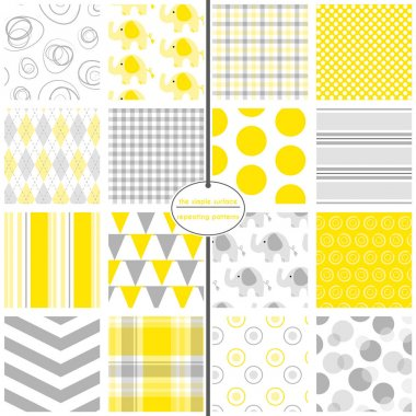 Yellow and grey seamless patterns. Polka dot, plaid, gingham, argyle, stripe, chevron, bunting, swirl and elephant prints for fabric, backgrounds, baby shower paper, scrapbooking or gift wrap. Cute, sweet, simple, pastel, unisex swatches. Gray.