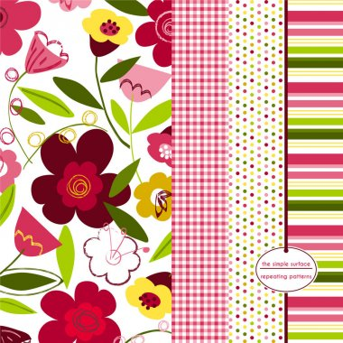 Flower seamless pattern. Fun floral pattern with coordinating gingham, polka dot and stripe prints. Repeating patterns for fabric, scrapbook paper, gift wrap, cards and more. Feminine, modern, whimsical, abstract, tulips. Spring, summer. Pink, green.
