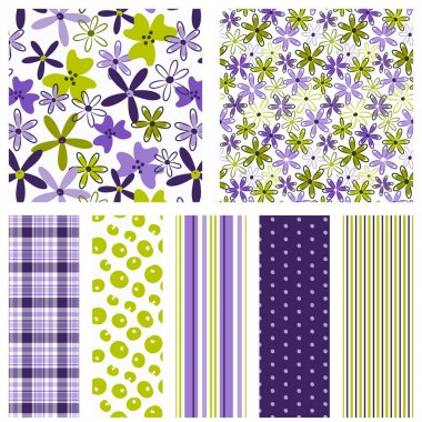 Flower seamless patterns. Purple and green floral patterns with coordinating plaid, polka dot and stripe prints for fabric, gift wrap, scrapbook paper, backgrounds and more. Floral ditsy print. Feminine. Spring, summer, modern, cute, sweet patterns.