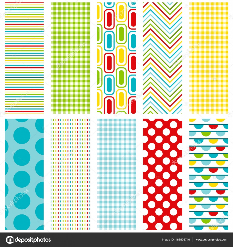 10 Colorful Seamless Patterns For Digital Paper Scrapbooking Cards Invitations Announcements Gift Wrap Backgrounds Borders And