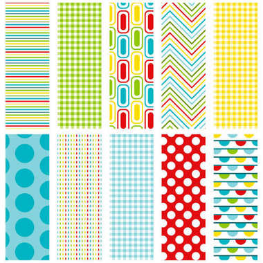 10 colorful seamless patterns for digital paper, scrapbooking, cards, invitations, announcements, gift wrap, backgrounds, borders and more. File includes stripe, gingham, rectangle, zigzag, polka dot, dash and bunting patterns.