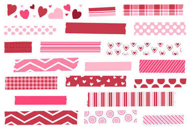 Washi tape vector illustration. Red and pink masking tape strips. Valentine's Day. Heart design. Design elements for decoration. EPS file has global colors for easy color changes and semitransparent tape strips.