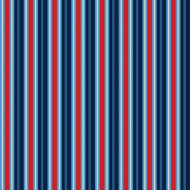 Red, white and blue seamless stripe pattern. Stripe repeating pattern for backgrounds, scrapbook paper, gift wrap, fabric, cards, invitations and more. Nautical, navy, blue, red. Classic, retro, preppy, vertical stripe pattern. Pattern swatch tile.
