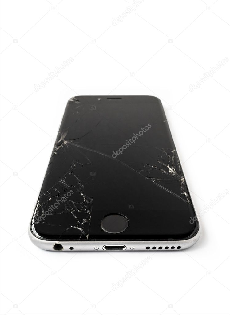 Broken Apple iPhone 6 with cracked screen