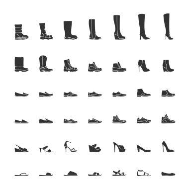 Black shoes icon set, men women fashion shoes. Vector illustration