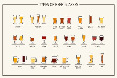Beer glass types. Beer glasses and mugs with names. Vector illustration