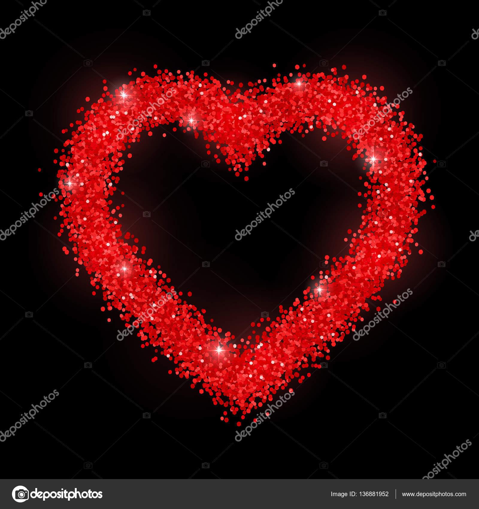 Blocco Per Grafici Glitter Cuore Rosso Su Sfondo Nero Vector