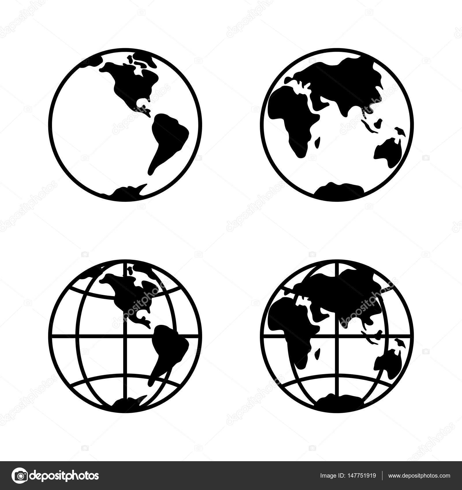 World icon set on white background 2 hemispheres vector stock world icon set on white background 2 hemispheres vector stock vector publicscrutiny Choice Image