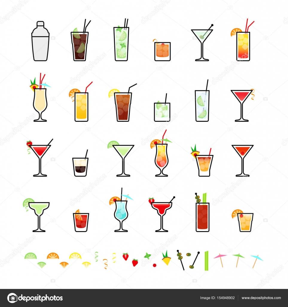 Cool Beliebte Cocktails Gallery Of Alkoholische Und Cocktail Dekorationen, Stellen Icons Im