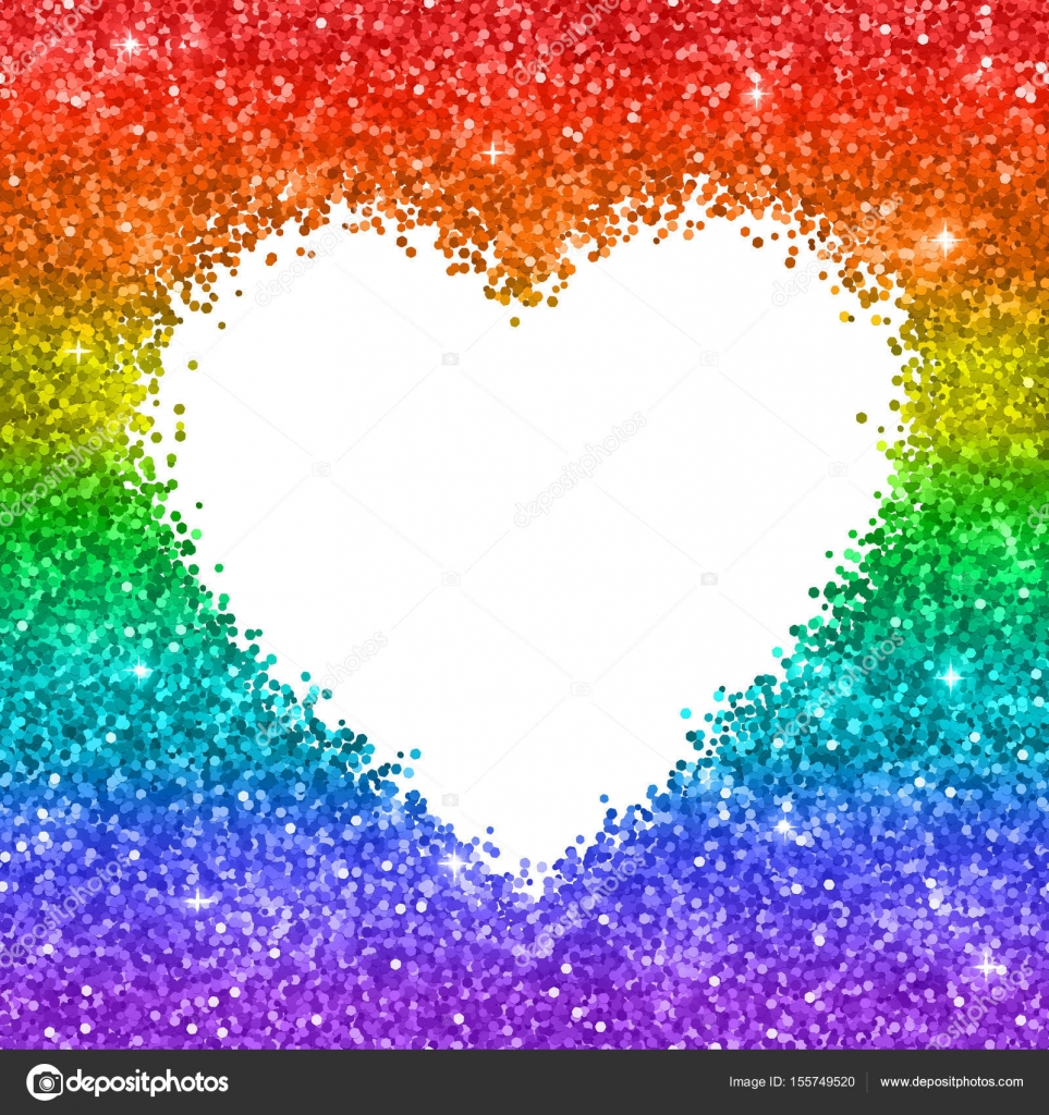 Rainbow glitter heart frame on white background. Vector ...