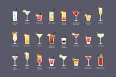 Most popular alcoholic cocktails part 2, icons set in flat style on dark background