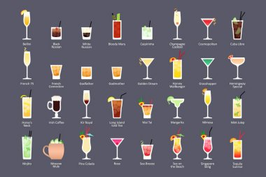 Alcoholic cocktails, IBA official cocktails Contemporary Classics. Icons set in flat style on dark background