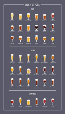 Beer styles guide, flat icons on dark background. Vector