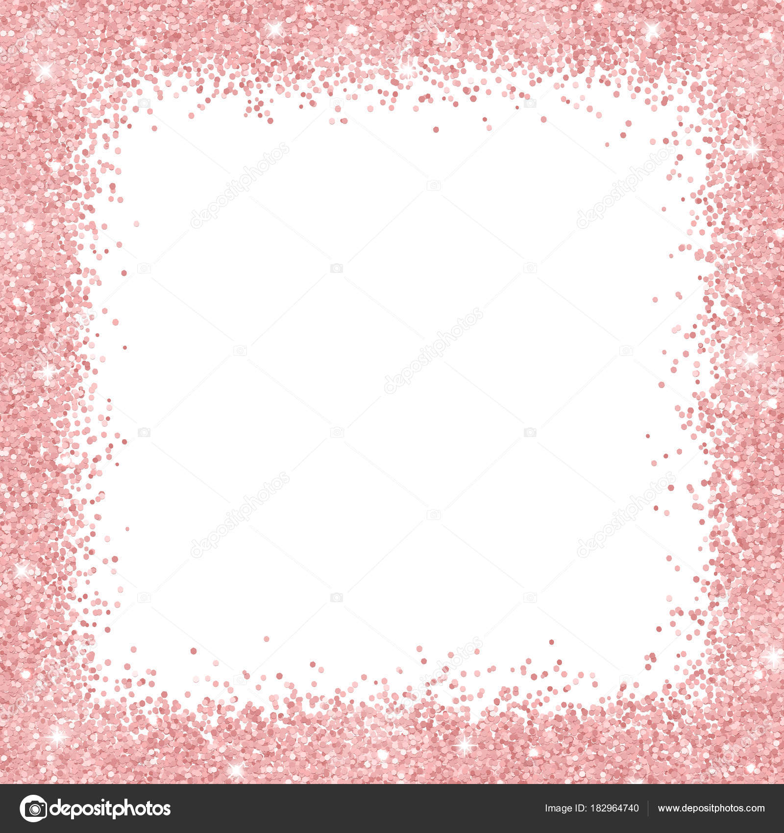 Border Frame With Rose Gold Glitter On White Background Vector Illustration By Lavaberezkagmail