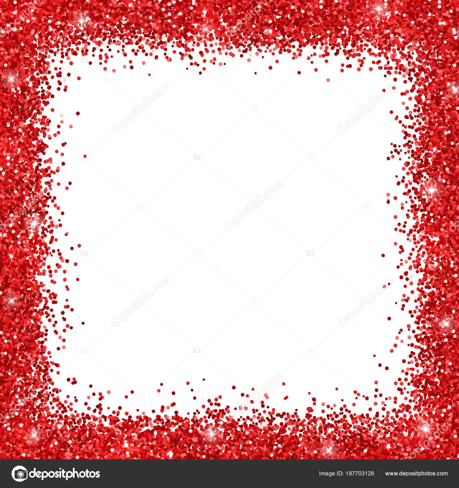 Roter Rahmen Frame Glitter auf weißem Hintergrund. Vektor ...