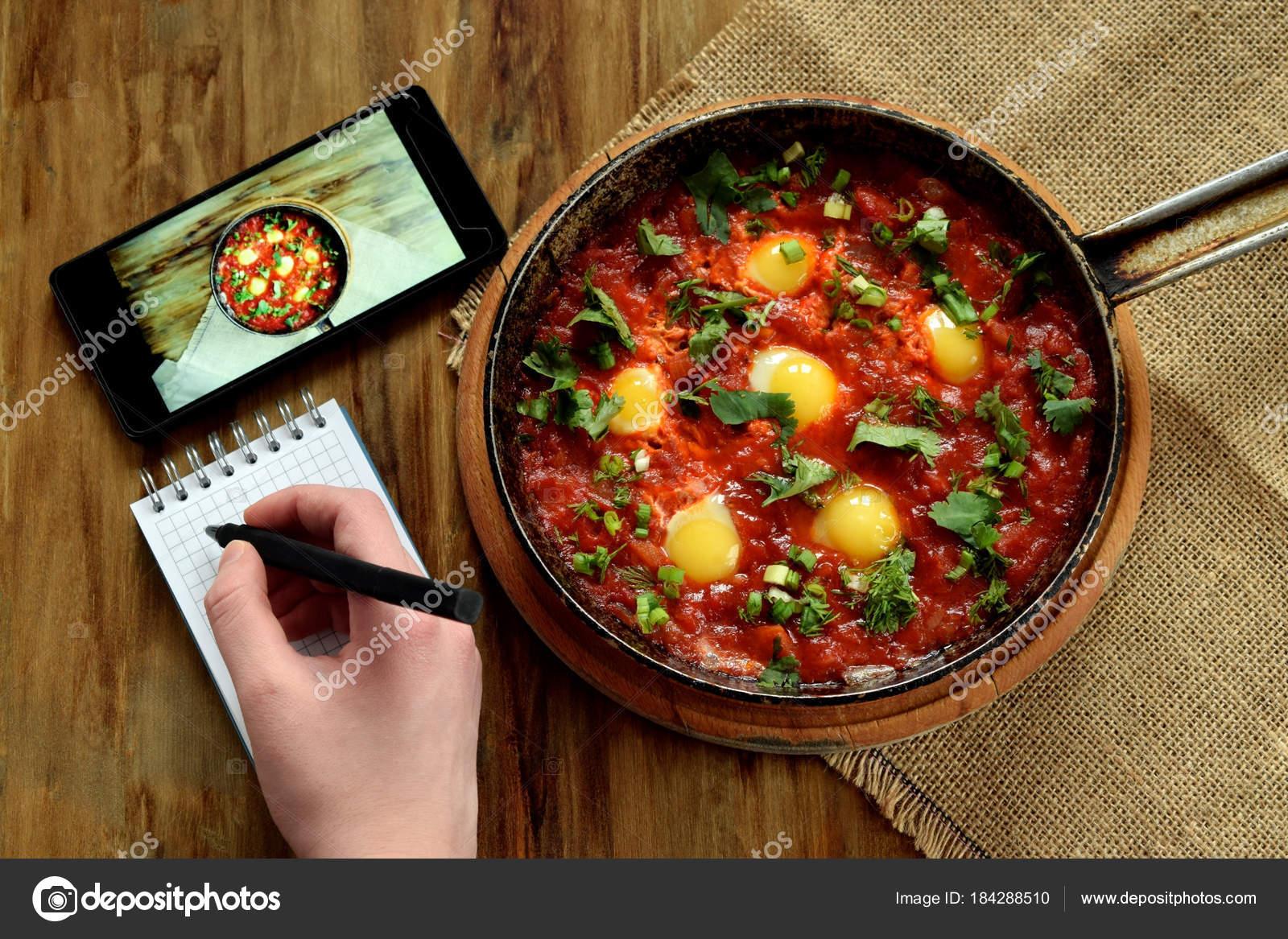 Fried Eggs Tomato Sauce Cast Iron Pan Smartphone Next Woman